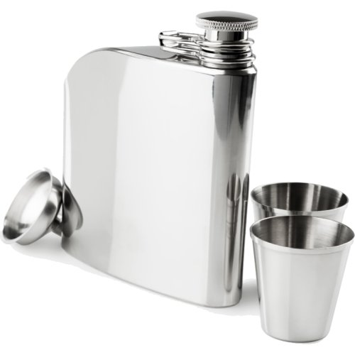 GSI Outdoors Glacier Stainless Traditional Hip Flask Set (177 ml) (GSI 66216)