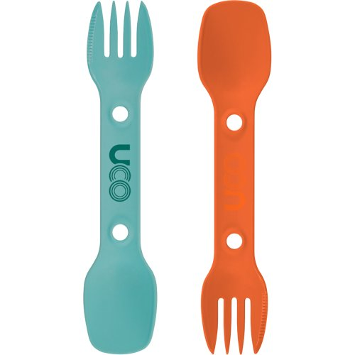 UCO Utility Spork - 2 Pack with Tether (Teal / Ember Orange) (UCO)