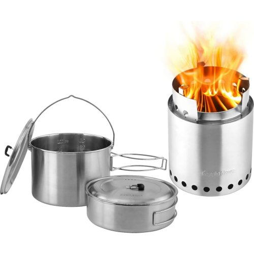 Solo Stove Campfire Wood Burning Backpacking Stove and 2 Pot Set Combo (Solo Stove SSCF-P3)